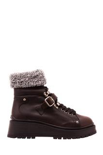 Кожаные ботинки с вязаными отворотами Miu Miu