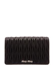 Черная сумочка с плетеным узором Miu Miu