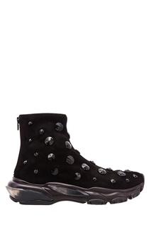 Черные кожаные ботинки со стразами Valentino