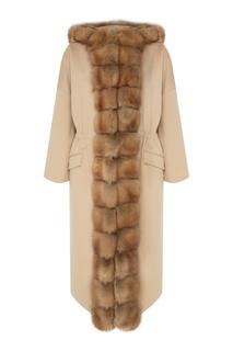 Бежевое шерстяное пальто с меховой отделкой Dreamfur
