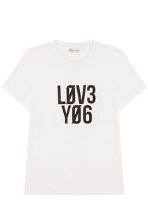 Белая хлопковая футболка RED Valentino