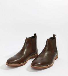 Коричневые кожаные ботинки челси с контрастной подошвой ASOS DESIGN - Коричневый
