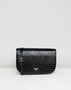 Черная сумка через плечо из искусственной крокодиловой кожи Dune Effie - Черный