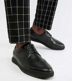 Черные броги-криперы из искусственной кожи для широкой стопы ASOS DESIGN - Черный