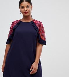 Платье А-силуэта с оборками и сеточкой Lovedrobe - Темно-синий