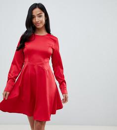 Атласное короткое приталенное платье с рукавами на манжетах Y.A.S Petite - Красный