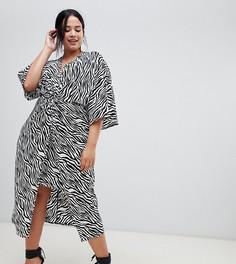 Платье-кимоно миди с зебровым принтом ASOS DESIGN Curve - Мульти