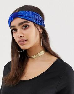 Синяя повязка на голову с пайетками ASOS DESIGN - Синий