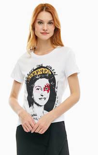 Хлопковая футболка с контрастным принтом Silvian Heach