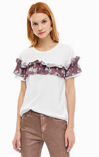 Белая хлопковая футболка с цветочной нашивкой Silvian Heach