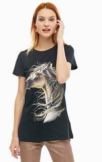 Черная футболка из хлопка с принтом Silvian Heach