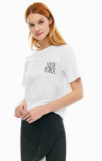 Белая хлопковая футболка с короткими рукавами Silvian Heach