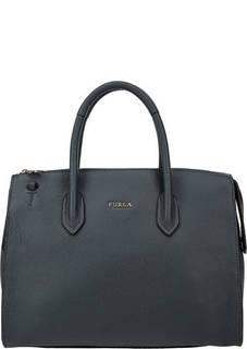 Синяя кожаная сумка с одним отделом Pin Furla