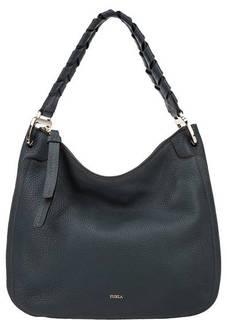 Синяя кожаная сумка с широкой ручкой Rialto Furla