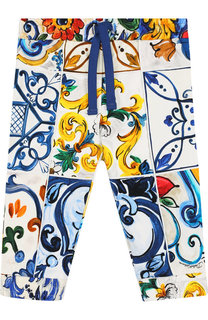 Хлопковые брюки с поясом на кулиске Dolce & Gabbana