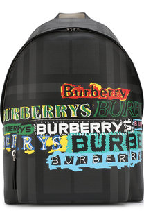 Рюкзак в клетку London Check с отделкой из кожи Burberry