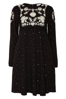 Черное платье с принтом RED Valentino