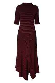Бордовое платье с оборкой Adolfo Dominguez