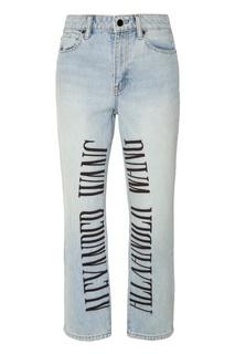 Голубые джинсы с принтом Alexanderwang.T