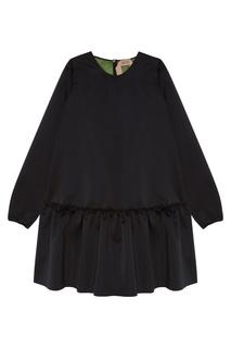 Черное платье с оборкой No.21
