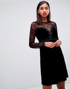 Черное бархатное платье мини для выпускного с кружевом Morgan - Черный