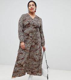 Чайное платье макси с леопардовым принтом Glamorous Curve - Черный