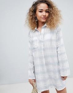 Платье-рубашка в клетку с длинными рукавами En Creme - Белый