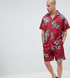 Шелковистая пижама с цветочным принтом ASOS DESIGN - Красный