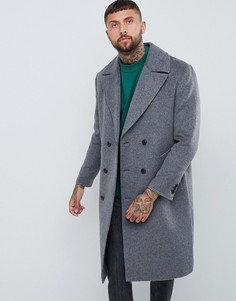 Темно-серое двубортное пальто с добавлением шерсти ASOS DESIGN - Серый