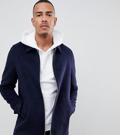 Темно-синяя куртка на молнии с добавлением шерсти ASOS DESIGN Tall - Темно-синий