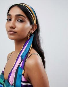 Головной платок в разноцветную полоску ASOS DESIGN - Мульти