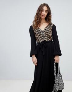 Платье миди с вышивкой Free People Hearts Desire - Черный