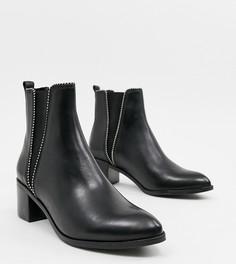 Черные кожаные ботинки на среднем каблуке Dune - Черный