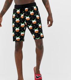 Новогодняя пижама с принтом пудингов ASOS DESIGN - Черный