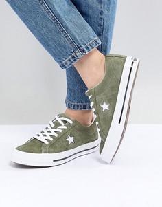 Замшевые кеды цвета хаки Converse One Star - Зеленый