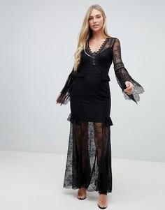 Черное кружевное платье макси с расклешенными рукавами Forever New - Черный