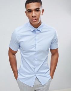 Синяя эластичная приталенная рубашка с короткими рукавами ASOS DESIGN - Синий