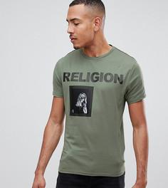 Зеленая обтягивающая футболка с принтом Religion - Зеленый