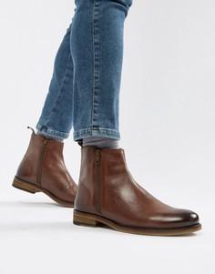 Коричневые кожаные ботинки челси на молнии ASOS DESIGN - Красный