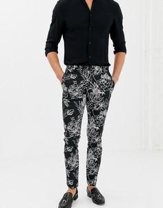 Монохромные зауженные брюки с цветочным принтом Twisted Tailor - Черный