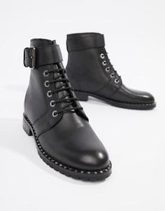 Черные походные кожаные ботинки с пряжкой Religion NYX - Черный