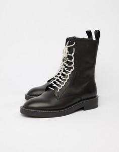 Кожаные ботинки на шнуровке ASOS DESIGN Alarm - Черный