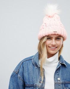 Шапка-бини вязки косами с помпоном Hollister - Розовый