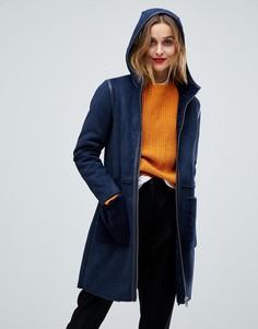 Плюшевое пальто из овечьей шерсти Esprit - Темно-синий