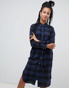 Платье-рубашка миди в клетку Esprit - Черный