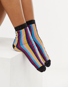 Блестящие носки в полоску ASOS DESIGN - Мульти