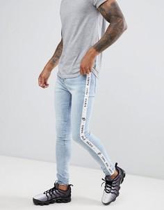 Светлые джинсы скинни с фирменной полосой по бокам Sixth June - Синий