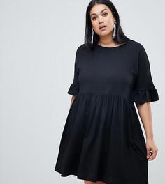 Свободное хлопковое платье с оборками ASOS DESIGN Curve - Черный