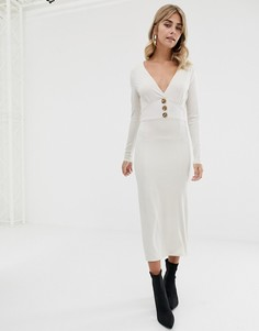 Платье миди с пуговицами из искусственного рога ASOS DESIGN - Кремовый