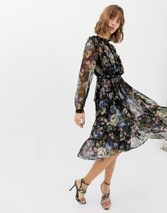 Платье миди с принтом Needle & Thread - Черный